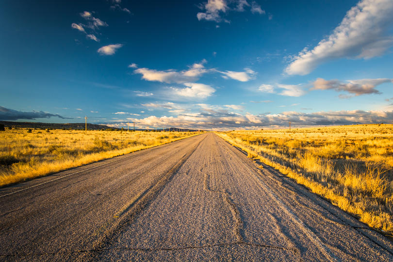 Albuquerque, New Mexico. county road and clouds