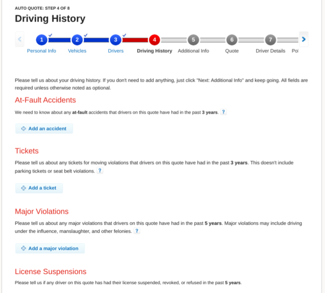 State Farm Get a Quote Driving History Information