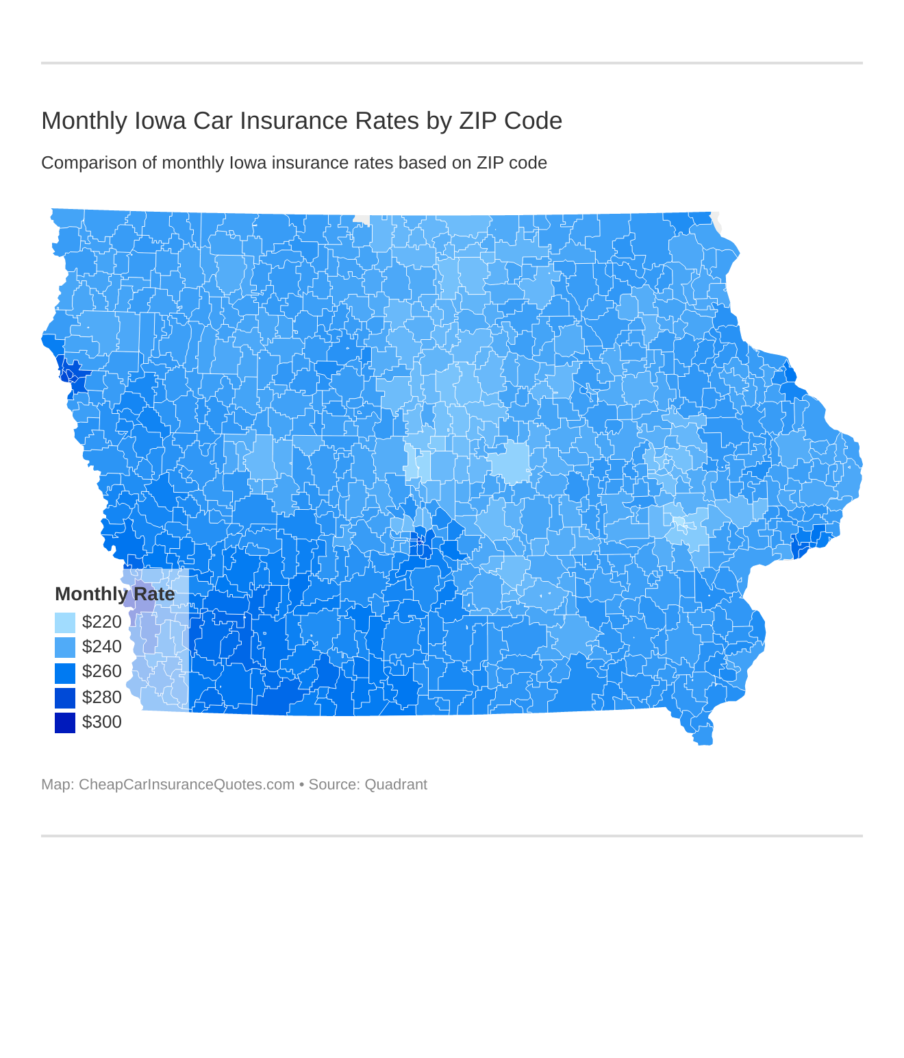 Monthly Iowa Car Insurance Rates by ZIP Code