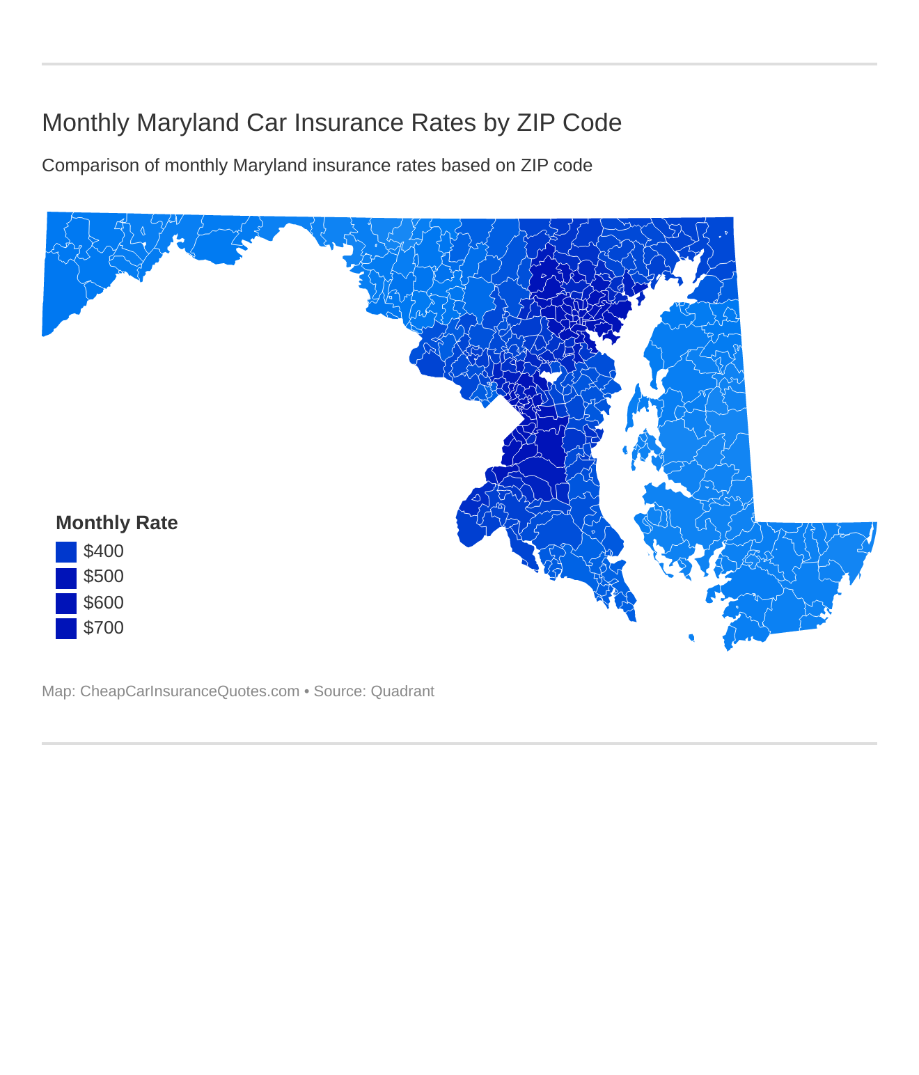 Monthly Maryland Car Insurance Rates by ZIP Code