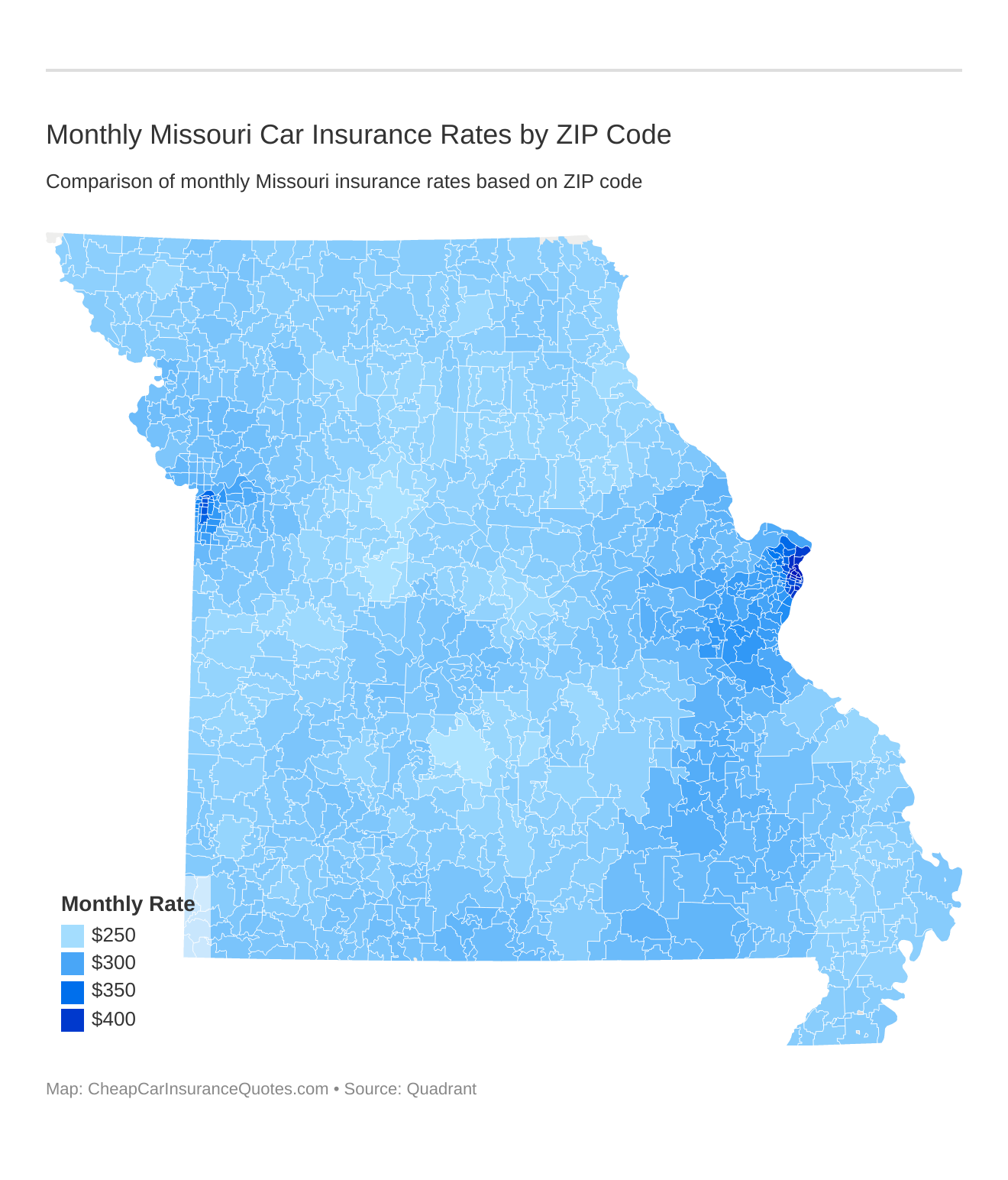 Monthly Missouri Car Insurance Rates by ZIP Code